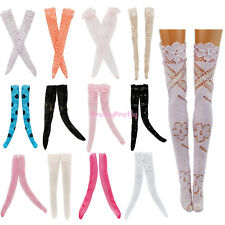 Random 3x Lace Stockings Long Socks Dress  Accessories For Barbie Doll Clothes