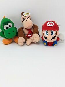 Lot Of 3 90's BD&A Super Mario 64 Plush Toy Dolls  Yoshi  donkey kong