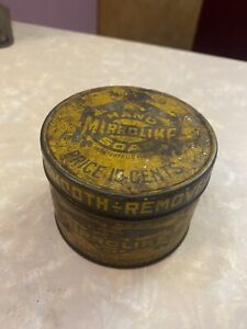 Vintage Old Early mirrorlike hand soap Graphic metal tin can Long Island NY USA