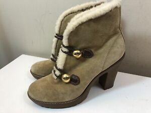 Coach Lenora Beige Suede Fur-Trim Brass Closure Heel Bootie Size 9M