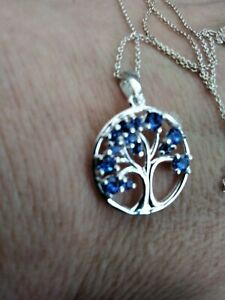 """SILVER NECKLACE  TREE OF LIFE BLUE CZ 18"""""""