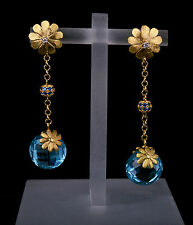 Earrings Satin Yellow Gold 18kt with Topaz Blu Sky. Made in Italy.