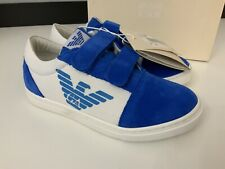 Armani Junior NEW blue Suede & White Trainers Sneakers Size 30 Uk 12 Infant Bnib