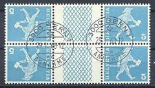 Switzerland 1960 Sc# 382 Messenger Fribourg tete-beche gutter block 4 CTO