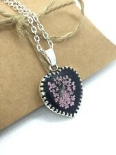 """Pressed Pink Flower Necklace, Handmade Jewellery, Romantic Gift Silver 18"""" chain"""
