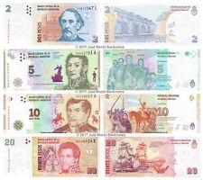 Argentina 2 + 5 + 10 + 20 pesos 2013-2016 Conjunto de 4 billetes de 4 Piezas UNC