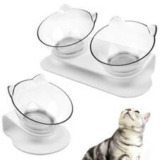 Adjustable Dog Cat Stand Bowl Pet Animal Feeding Food Water Double Bowl Raised