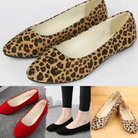 Women's Casual Girls Leopard Slip On Shallow Comfort Single Flat Shoes Size