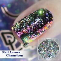 Nail Art Laser Pigment Chrome Glitter Powder Dust Flakes Chameleon Mirror Effect