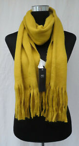 LADIES MARKS AND SPENCER OCHRE SOFT SCARF WITH TASSELS ONE SIZE