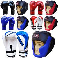 Junior Boxing Gloves 4,6,8 OZ  & Head Guard Set Protector Sparring Gloves Kids