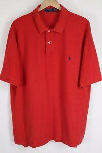 Polo Ralph Lauren Mens sz 2XLT Tall Red Mesh Short Sleeve Shirt Blue Pony