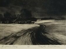 MAX JOSEF FLIEGERBAUER SIGNED Etching / Mezzotint Landscape with Road & Village
