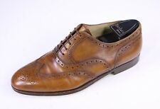 * BERLUTI * Recent Brown Wingtip Oxford Handmade Leather Dress Shoes +Trees US 8