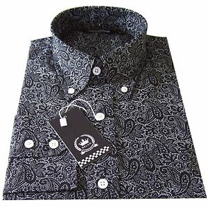 Relco Men's Paisley Shirt Black Long Sleeve Button Down Collar Vintage 60's Mod