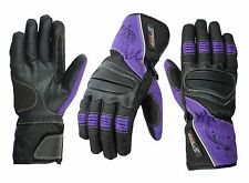 LADIES PURPLE/BLACK WOMENS CE MOTORBIKE / MOTORCYCLE / MOTOCROSS TEXTILE GLOVES
