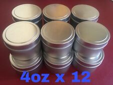 4oz X 12 Deep Metal Round Tins Slip Cover Candles, Cosmetics, Survival, 12-Pack