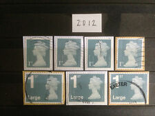 Great Britain 2012 7 Different Diamond Jubilee Security Definitives Collection