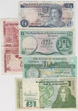 FIVE  £1 NOTES, IRELAND, SCOTLAND, GIBRALTAR GUERNSEY & JERSEY IN USED CONDITION