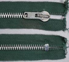 "25"" 64cm green silver metal teeth CLOSED END ended auto lock vintage zips"