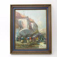 Vintage Mid Century Impressionist Signed Oil Painting People in Market