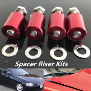 Car Hood Vent Spacer Riser Kits Red Aluminum Durable Fit For Engine Motor Swap