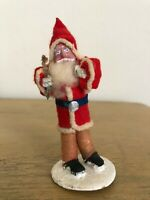 Vintage Clay Faced Santa Holding Branch Japan 4 Inches