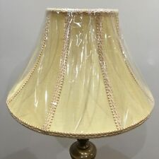 Brand New Large Table Lampshade Bell Shape Colour Mustard /Pattern With Braiding