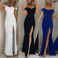 Women's Elegant Off Shoulder Evening Party Long Maxi Bodycon V-Neck Dresses----
