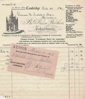 Bo.of Bacon Brothers Cambridge 1907 Tobacconists Manuf+Importer Receipt Rf 34247