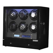 Arcanent 6 + 2 Slot Watch Winder LCD Digital Black Quality Made w/ Ball Bearings
