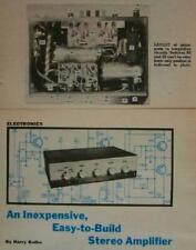 Stereo Amplifier 25-35 watt 1973 How-To build PLANS