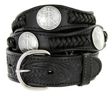 Walking Liberty Coin Concho Western Embossed Genuine Leather Belt, Black Brown
