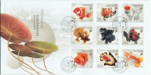SINGAPORE 2019 GOLDFISH DEFINITIVE FIRST DAY COVER WITH COMP. SET 9 STAMPS NICE