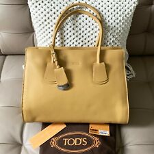 $1545 Tod's Medium Note Shopping Mancini Zip Leather Tote Bag Yellow Tan Beige