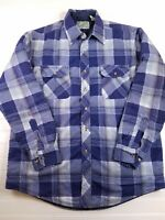 Outdoor Exchange Mens Flannel Button Up Collared blue Shirt Long sleeve Plaid HU