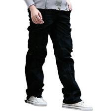 Womens Ladies Combat Casual Cargo Cotton Military BOYFRIEND Trousers Pants Jeans Black UK 14 - Euro 42 - XLarge
