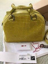 CHRISTIAN LOUBOUTIN PANETTONE SMALL SPIKES YELLOW BAG: Orig $2195, Preowned