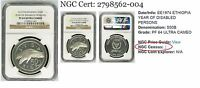1974 Ethiopia Silver Coin Year Of The Disabled Persons, NGC PF64 anacs pcgs icg