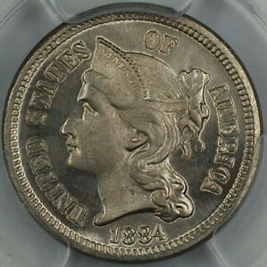 1884 Three Cent Nickel 3c, PCGS Proof Genuine (Business Strike In Our Opinion)