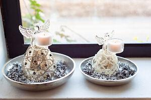Home Society Hübscher Weihnacht Engel OXFORD Glas  Teelichthalter 689327/689328