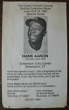 1981 Hank Aaron Flyer: Autograph Show at Greenwich Civic Center, Connecticut