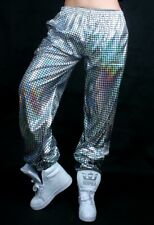 A Pair of Holographic Metallic Sequins Shine Hip Hop Jazz Dance Pants M L XL