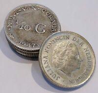 Netherlands Antilles & Curaçao 1/10 Gulden 64% Silver (Lot of 5)