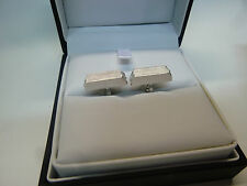LANVIN CUFFLINKS Engraved RHODIUM plated - NEW BOXED - RRP £200 - XMAS GIFT