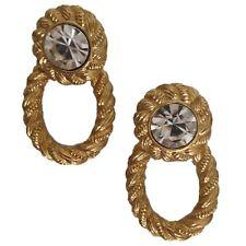 Vintage 80's Art Deco Antique Gold Tone Faux Crystal Dangle Pierced Earrings