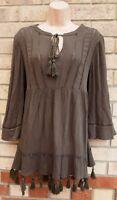 PAPAYA KHAKI GREEN TIE NECK BAGGY SMOCK TUNIC SLIP LONG SLEEVE SHIFT DRESS 12 M