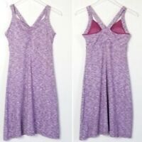 Prana Amaya Dress Small S Purple Pink White Space-dye Stripe Tank Empire