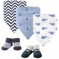 Hudson Baby Bandana Bib and Socks, 5-Piece Set, Blue Whales