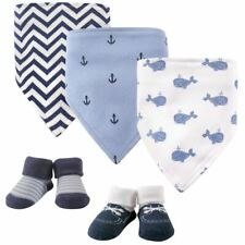 Hudson Baby Boy Bandana Bib and Socks, 5-Piece Set, Blue Whales